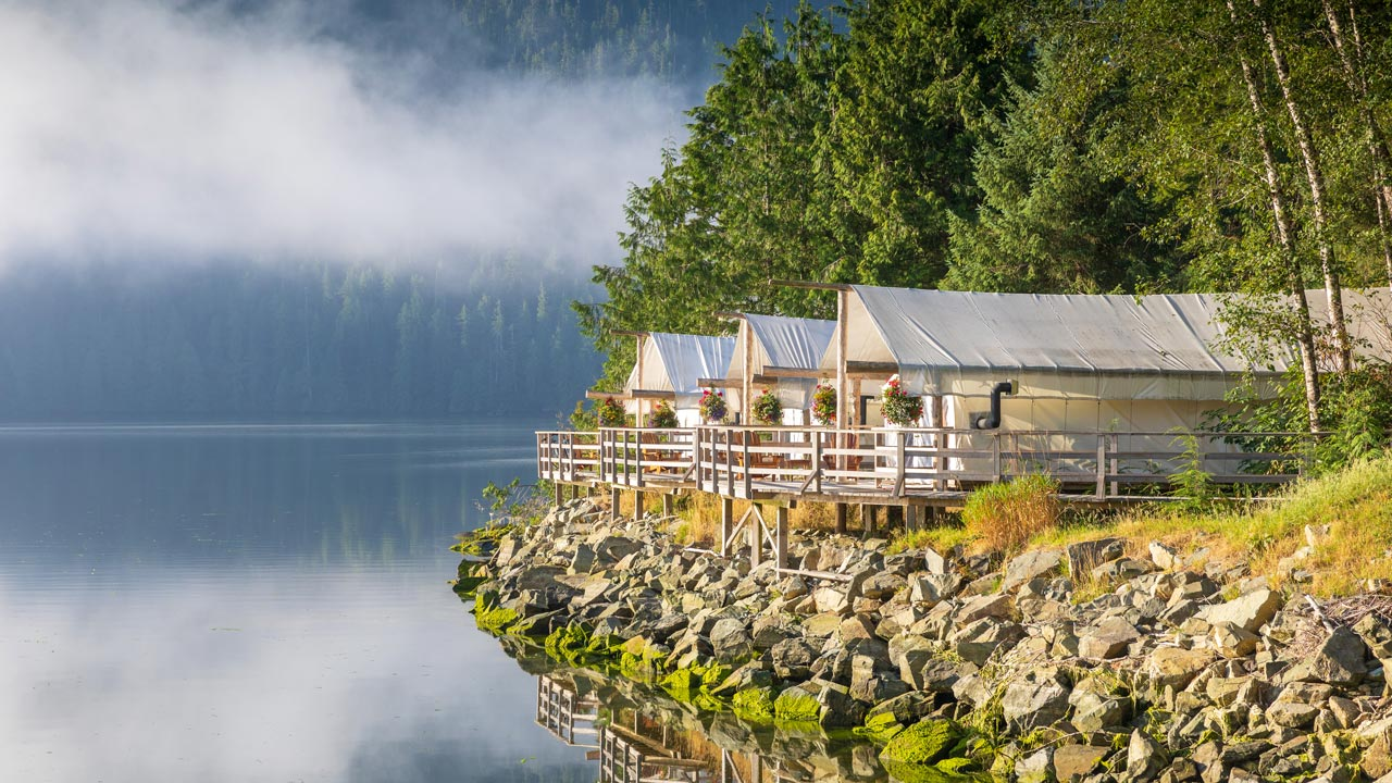 Clayoquot Wilderness Resort glamping cabins overlooking the ocean