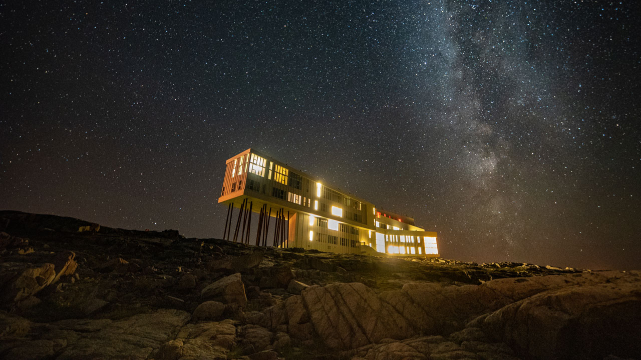 Newfoundland's Fogo Island Inn at night with a starry sky