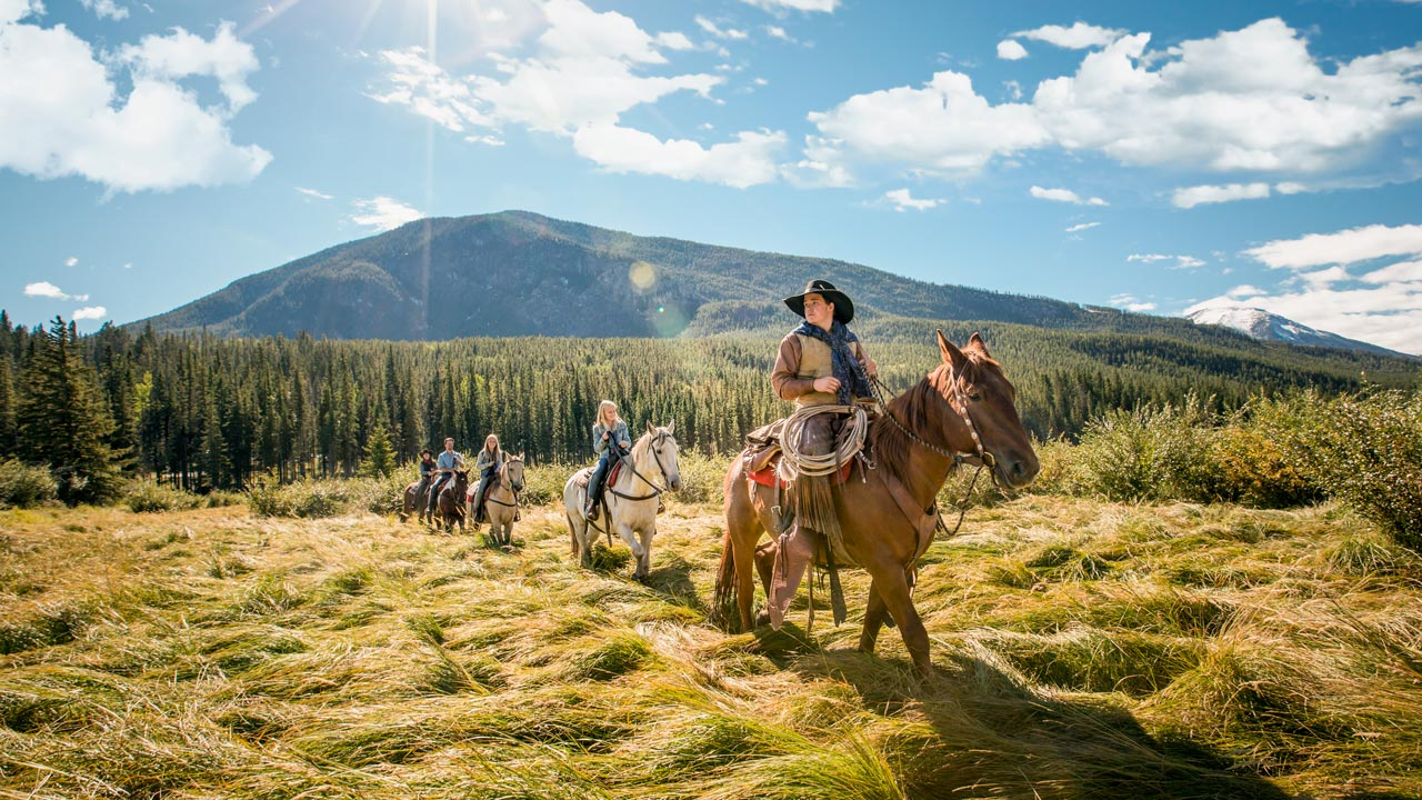 Small group horseback riding through a grassy field in Banff, Alberta