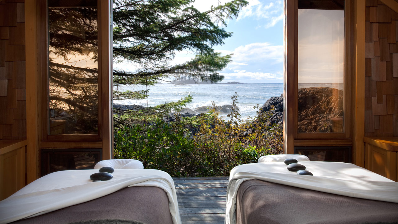 Couples massage room at the Wickaninnish Inn overlooking the ocean