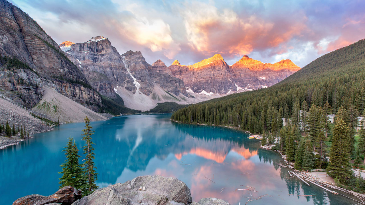 Sunset at Moraine Lake, Alberta