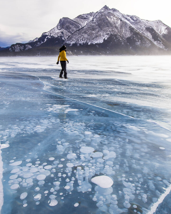 Bubbles in the ice at Abraham Lake, Alberta