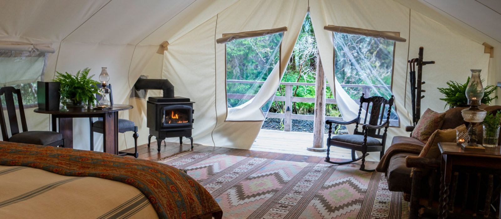 Ensuite glamping tent at Clayoquot Wilderness Resort