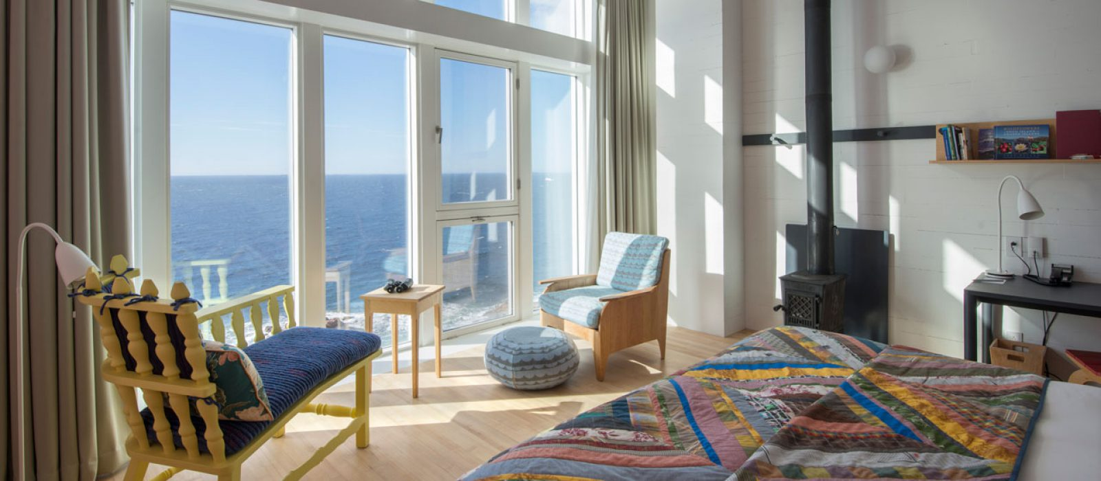 View out the ocean facing windows at the Fogo Island Inn