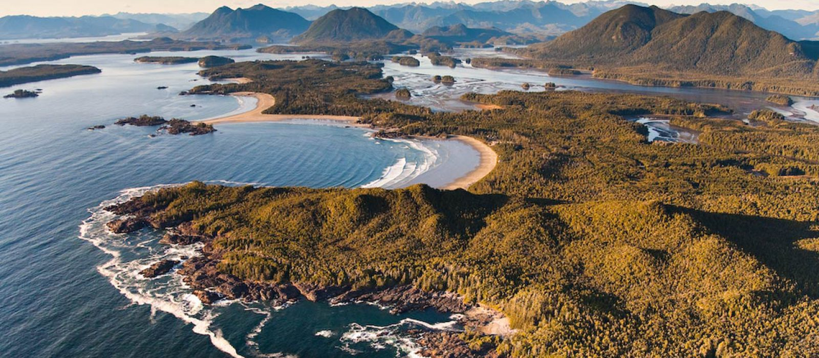 Aerial view of the Pacific Rim and Tofino area